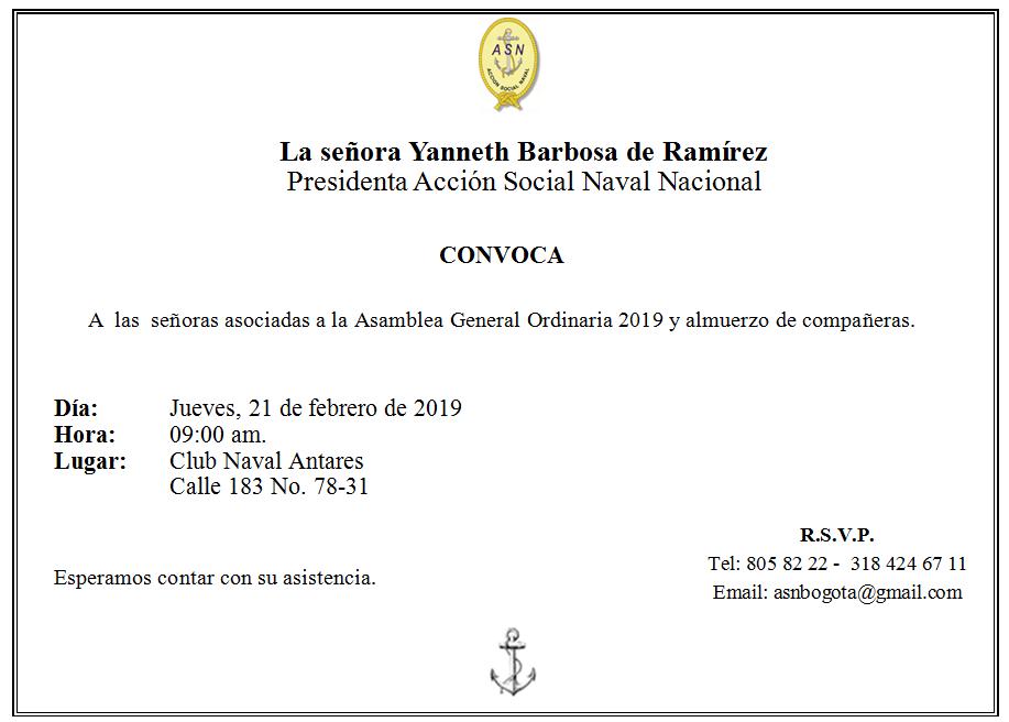 Invitación a la Asamblea General 2019