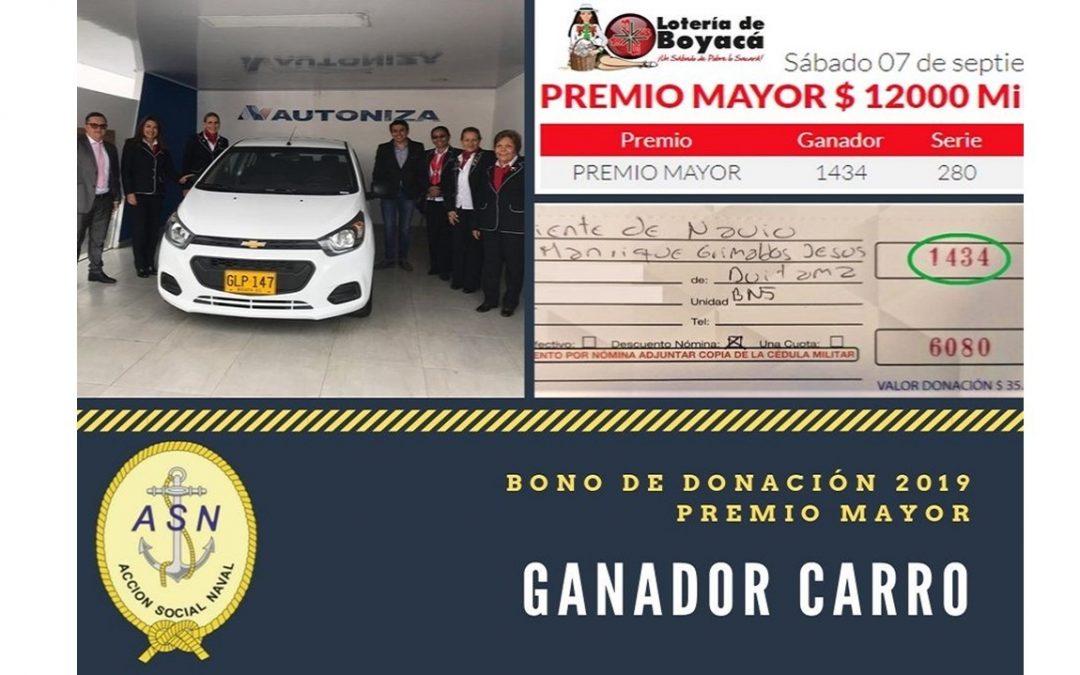 Ganador Carro Premio Mayor Bono