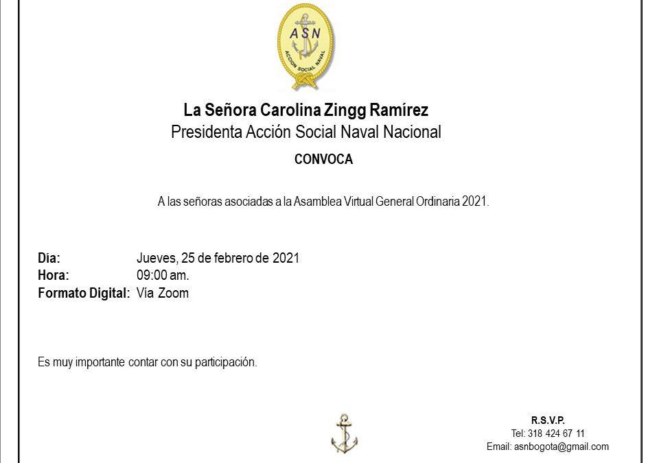 Asamblea Virtual General de la Acción Social Naval en 2021